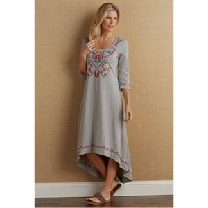 Soft Surroundings Petites Floral Embroidered Dress